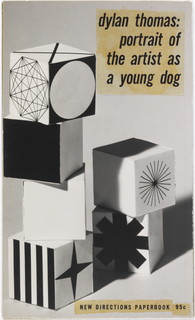 Maquette of book cover design. On gray ground, photoillustration of six stacked blocks with black and white designs. Printed text at upper right and lower right.