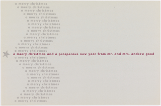 Christmas greeting card with at left star and text creating and undulating form.