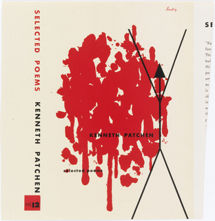 Drips and splattered forms in red (like blood) on white ground.  On the right a stick-like figure in black (whose head and neck take the form of an arrow) with arms raised and legs spread. Imprinted in black, lower center, name of author and at lower left, name of book.  Spine is imprinted in red an black with name of book and author and logo: NC 12.