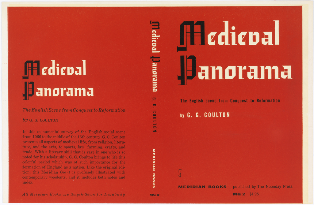 Design for book cover featuring from left to right: back, spine, front cover. Entire cover is red with black and white text. The M and P in the title are in an Old English text style. On the back cover of the book is the title, author and synopsis of the book.