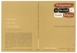 "Book cover design featuring from left to right: back, spine, and front cover. Entire cover is beige with black, white, and brown design and text. Front cover features title in upper right corner. Title is written in serif type and split into three lines. Each word of title is in front of an amorphous form reminiscent of a piece of torn paper. First line of title features word Prologomena in white in front of brown form. Second line features words ""to the study of"" with ""to"" and ""the study"" in white text behind black forms and ""of"" in brown text behind white form. Third line features ""Greek"" in black text in front of white form and ""Religion"" in white in front of brown form.  About half of page height down is author's name in black serif caps: JANE HARRISON.  Along bottom are two lines of text. Top line: in white, MERIDIAN BOOKS; in brown, ""published by The Noonday Press"". Second line: in red, ""Sewn-bound for durability"" and ""MG 3 $1.95"". Along right side is a sideways signature reading ""lustig.""  Spine features title in black serif text, author's last name in brown serif caps, and publisher in bold white sans-serif. Below, in black, ""MG 3"".  Back cover features title in three lines of white serif text above author's name in brown serif caps. Below is paragraph with book description. Along bottom is phrase in black italic serif text, ""All Meridian Books are Smyth-Sewn for Durability."""