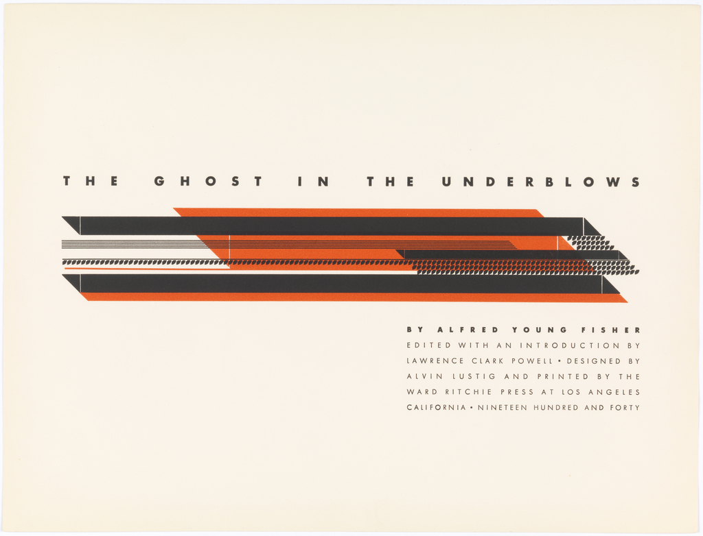 Title page. At center, underneath title an abstract design comprised of long, vertical overlayed parallelograms in orange and black. One of these shapes is comprised of thin black lines. Another two are comrised from rows of black dots.