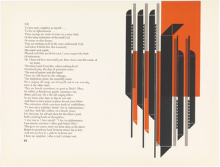 Page 22-23. Left: text. Right: Abstract design in black, orange, and white. Design is broken into roughly two halves. Left side consists of horizontal row of three identical shape clusters. Each cluster consists of from left to right: thick vertical black bar topped with quarter circle and ending with triangle; vertical row of small black half circles above thin black bar; a thin bar consisting of thin black lines over a thin orange bar. Each shape cluster is slightly longer at the bottom, creating a diagonal of roughly 45 degrees. Right side of design consists of, on left, thick black vertical bar with two triangles at top, and one triangle at bottom. To right of bar are two shape clusters which are 180-degree mirror images of shape clusters on left except that half-circles remain on top and triangles on bottom. These three forms are also staggered diagonally to form a 45-degree angle. The three forms are superimposed over  vertical orange rectangle that fillsroughly 1/4 of design at upper right.