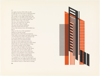 "Pages 72-73. Left: text. Right: Abstract design in black, orange, and white. Design consists of numerous overlayed abstract shapes which appear to form roughly four distinct forms. On left is thick vertical rectangle comprised of thin black lines. In center, a black razor-like parallelogram formed by several horizontal and vertical black bars. Horizontal bars are on a diagonal. In upper portion of black form are three rows of four sideways ""V"" shapes. At lower right side of design, three smaller black parallelograms form a larger razor-like parallelogram. Behind the three black forms is a larger orange rectangle that ends, at top, with a diagonal. Orange form is comrpised of, from left to right, a thick vertical orange bar, a series of four thinner vertical bars, and a vertical grid of orange cells."