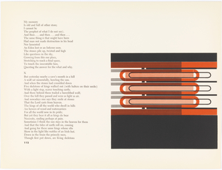 Pages 112-113.  Left: Poem in 36 lines of serif text. Below, page number 112 in bold sans-serif font.  Right: Abstract design in black, orange, and white about 1/4 of height down. Design is bracketed at top and bottom by thick black bars, the bottom about quadruple the height of top. Directly inside of black bars is additional set of thick bars in orange. Within bars are three long pill-shaped horizontal forms outlined in thick orange line. Inside and extending out right side of orange pills forms are additional, thinner pill forms outlined in thin black line. Superimposed over about 2/3 of inner design is vertical row of 8 bars made comprised of thin black lines.
