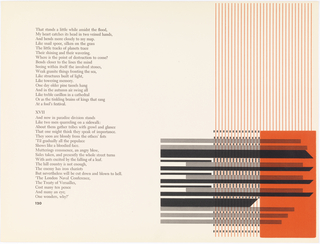 Pages 120-121. Left: text. Right: row of 31 long, thin vertical orange lines extends roughly entire height of page. In lower right corner, a solid orange rectangle covers roughly half of this row's width and slightly less than half of its height. Superimposed over the row of lines and solid rectangle is a vertical row of thick horizontal black bars. Bars alternate randomly between ones made of smaller black lines and ones rendered in solid black. Solid black bars end at right in a diagonal. Dispersed amongs horizontal bars between the vertical rows of orange lines are small black rectangles.