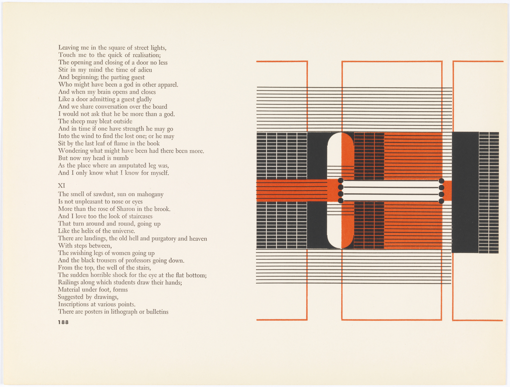 Pages 188-189. Left: text. Right: Abstract design in black, orange, and white. Design contained within series of three boxes, outlined in thin orange line. Left box and right box are about half size of middle with left and right sides missing respectively. A column of horizontal thin black lines cuts across design, extending from left side to left corner of third orange box. Within center of left box: grid consisting of black rectangular cells with white borders. Straddling either side of left side of middle box is long vertical pill shape, left side of which is white, right side orange. To right of pill shape, within middle box, is grid of black cells with orange borders. To right, column of horizontal orange lines with black borders. Within right column, thin column filled in with black aside thin column filled in with grid of black cells with white borders. Cutting across entire design from left to left side of right box is thin ribbon-like strip consisting of an orange rectangle with black horizontal lines, column of four black circles, a white rectangle with four horizontal black lines, another series of four black circles, and a small vertical rectangle in orange.