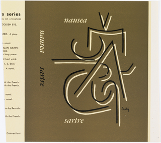 Book cover with brown background and various lines of black and white.