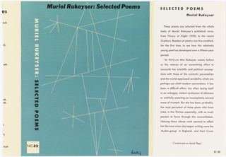 Book Cover, Muriel Rukeyser: Selected poems