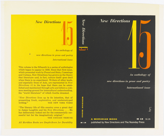 Book cover. Front cover: black background with horizontally printed orange, yellow and white text; side: black background with vertically printed white and yellow text; back: yellow background with horizontally printed black and orange text.