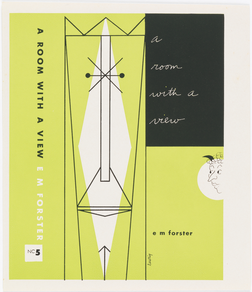 Book cover with light green background. Front cover: at left, large stylized face; upper right: large black rectangle with white text; center right: caricature of female face in white circle. Side: vertically printed black and white text.
