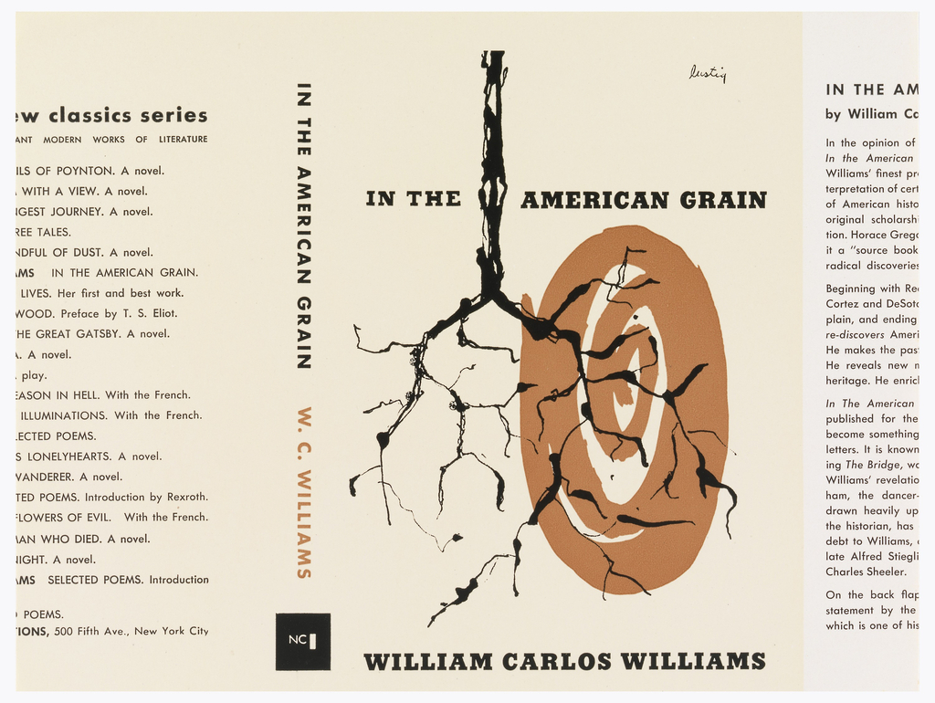 Cream colored book cover with black, brown and white texts. Front cover: bare, inverted tree and swirling brown and white oval.