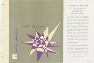Book cover. Front cover: green background with black text and large black and white geometric shape at lower right; side: green background with black and white printed text; inside: white background with black printed text.