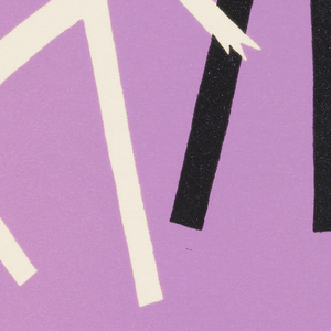 Purple background with stylized two stylized femal figures and one stylized male figure, horizontally printed black and white text.