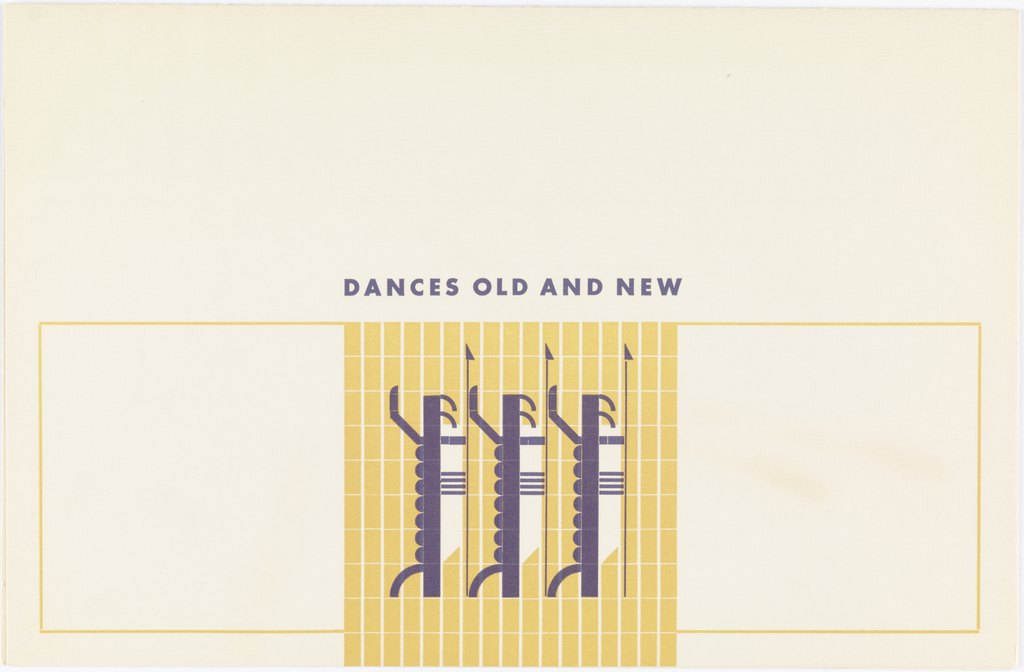 Lower center, striped yellow square with three stylized dancing figures.