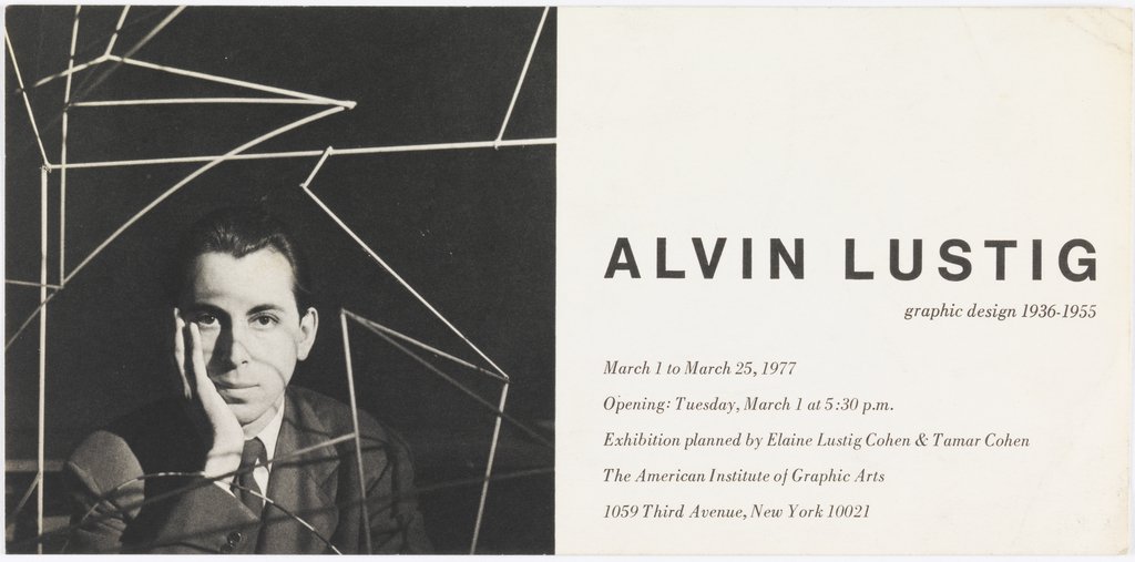Paper divided in two halves. Left: photograph of Alvin Lustig; right: information on exhibition.