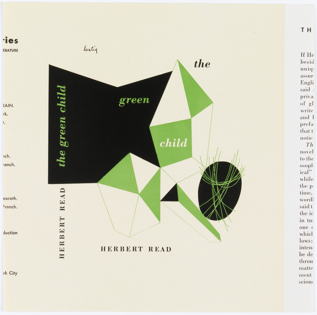 Book cover for The Green Child with cubic forms in black, green and white.