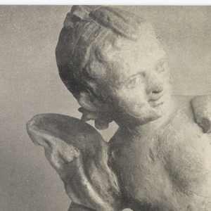 Photograph of cupid statue above opened letter with superimposed checkered pattern.