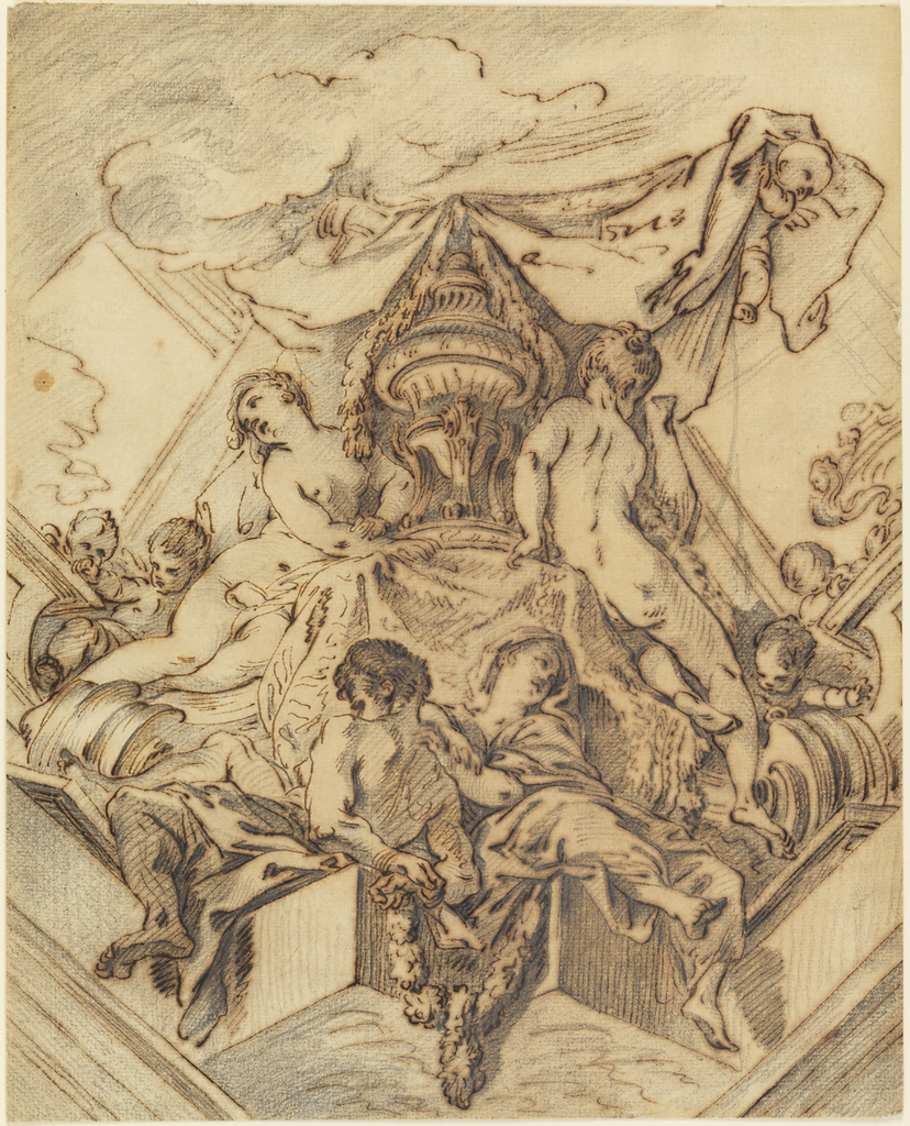 Nude and draped figures grouped about an urn with putti above holding heavy drapery.
