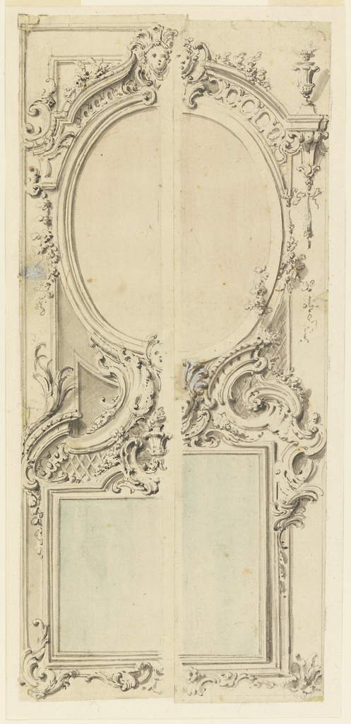 The edge of the design of right half (2) is pasted over that of a left half (1).  Either design includes an upper oval and a lower oblong mirror.  (1) suggests horizontal lower mirror, (2) vertical lower mirror.  Either design suggests a female mask in the top center of the upper mirror, (A) a second one in the bottom center of the upper mirror and a vase over the center of the bottom mirror.