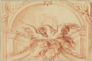 "Within a semi-circular architectural niche an eagle, wings outspread, rests on a socle, before which is suspended a wreath.  Smoke rises in the background; an arch above, and volute brackets at either side.  Ink framing lines.  On verso, written: ""Babel."""