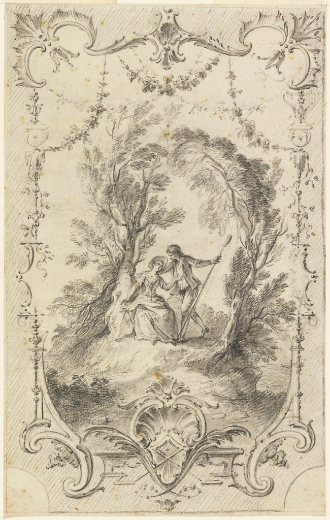 A shepherd makes advances to a shepherdess seated by a gnarled tree on a bank; another tree frames the composition at the right.  Arabesque frame composed of garlands, shell-work, hooked scrolls and bat-wing ornamentation.  The outer edges of the composition are shaded.
