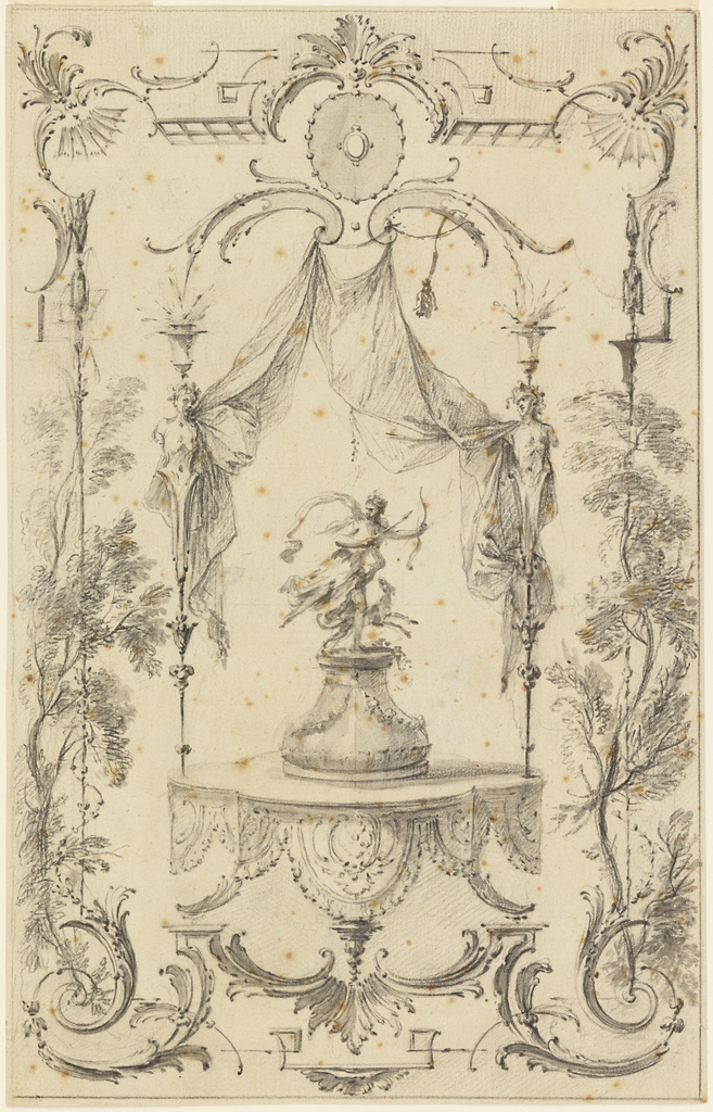 A statue of Diana in pursuit, accompanied by a dog, appears on a garlanded pedestal set on a platform from which is suspended an escalloped lambrequin.  Drapery is suspended from eye-brow volutes and caught at the sides by herm figures.  Arabesque frame, mingling with trees at the sides, includes scrolls, bat-wing, and trellis ornamentation.
