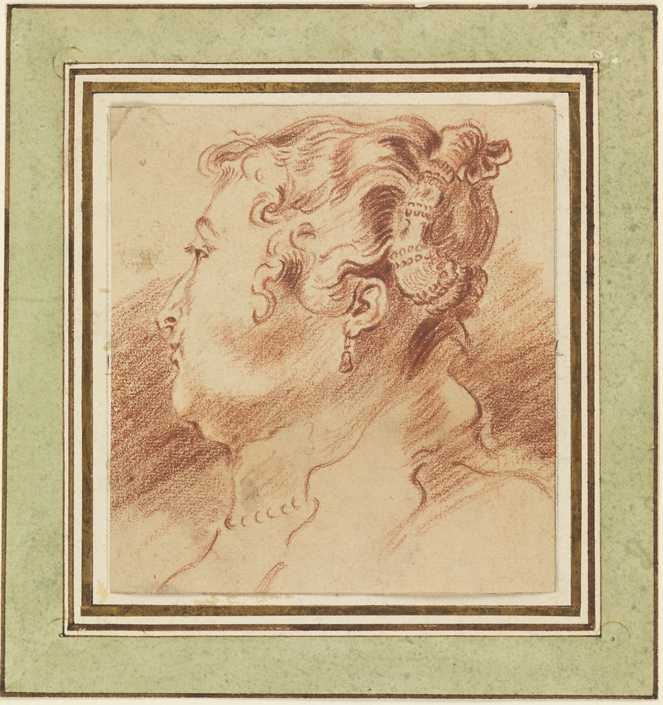 Head, in profile, shown turned toward right shoulder.  Necklace, string of pearls, and earing indicated.