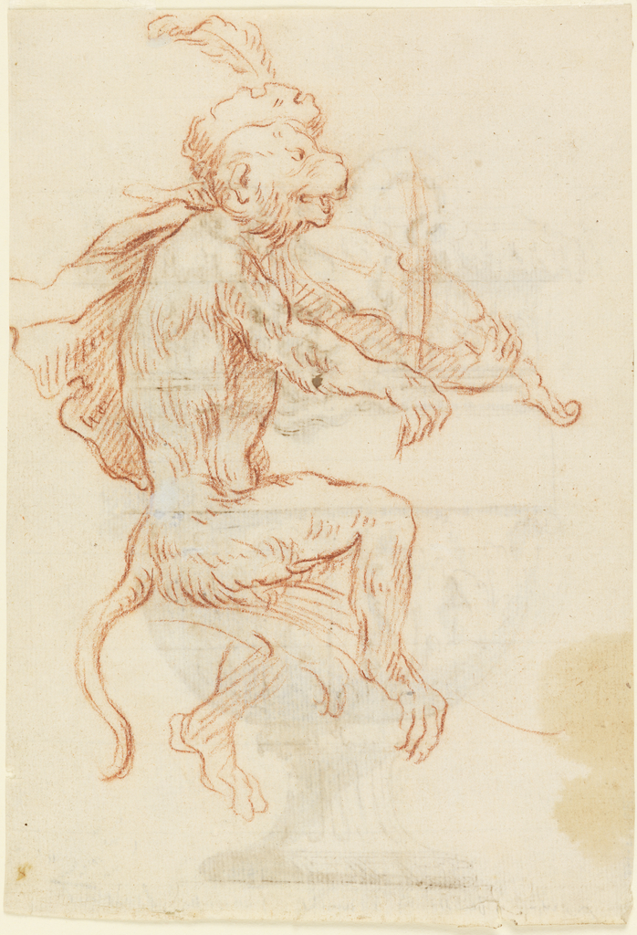 Monkey wearing a feathered cap stands on one foot facing right and plays a violin. Verso: rendering of an 18th-century Italian vase with a mask.