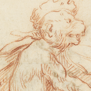 Monkey wearing a feathered cap stands on one foot facing right and plays a violin. Verso: rendering of an 18th century Italian vase with a mask.