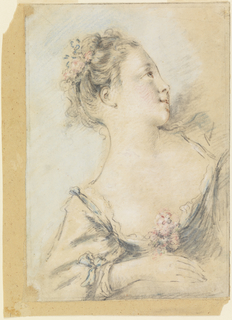 Bust of a young girl leaning upon her right forearm and raising her head, which is shown in profile.