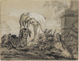 Two dogs, one laying and one standing, are beside a boar's head and part of a lion's hide at the base of a classical ruin, in a landscape setting at lower right.