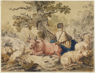 Center right, shepard seated with his back turned to viewer surrouned by four sheep, one cow, and one dog. Center, large tree. Wood fence in the distance.