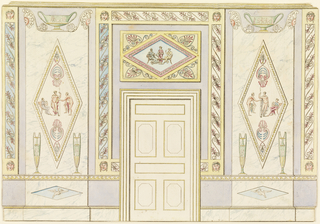 Side wall with door center, marbled panels with classical motifs left and right.  Lined.