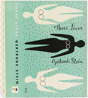 "Bookjacket design. Design on light, mint-green ground. Cover contains three abstract depictions of horizontal female nudes. Top and bottom forms are white and have heads on left side, middle form is black has head on right. All three forms have ""breasts"" in the form of two parallel circles. In top and bottom forms, they are outlined in thin black lines, in middle form, in thin white lines. Surrounding all forms are small, vertical thin lines in black, possibly meant to depict grass on which forms are laying."