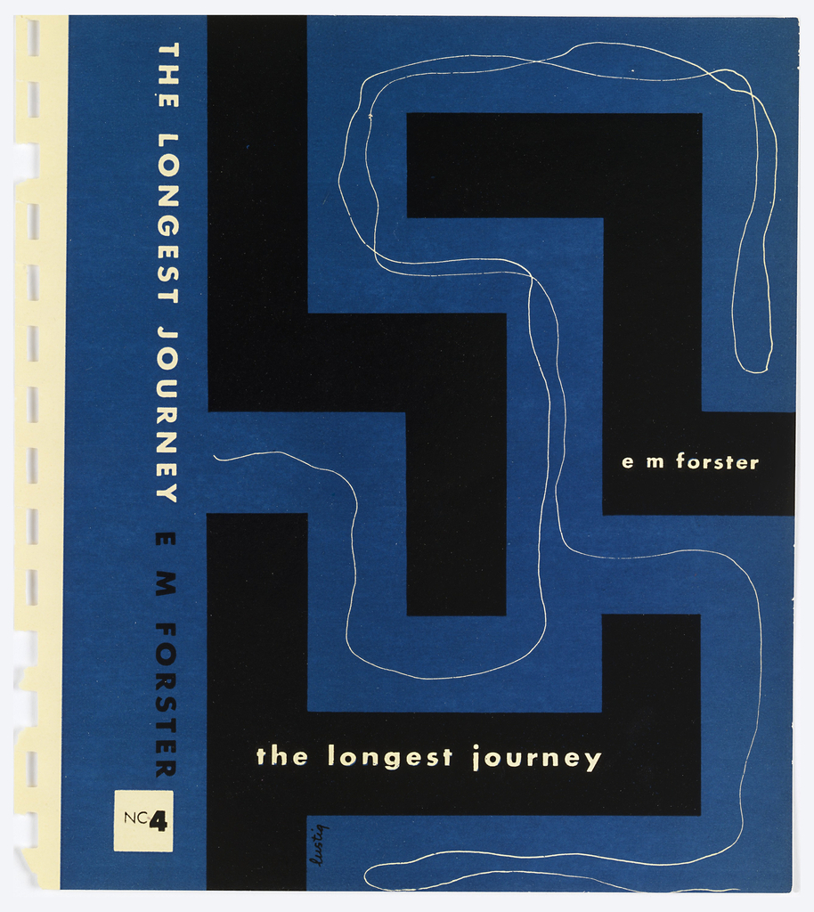 Bookjacket designs. Design on blue ground.Cover depicts maze-like arrangement of black rectilinear forms. A thin, white line is drawn between the walls of this maze. Title and author's name written within the black maze-like forms.