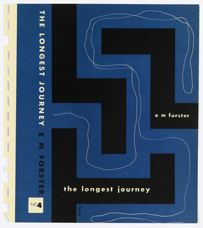 Bookjacket designs. Design on blue ground. Cover depicts maze-like arrangement of black rectilinear forms. A thin, white line is drawn between the walls of this maze. Title and author's name written within the black maze-like forms.