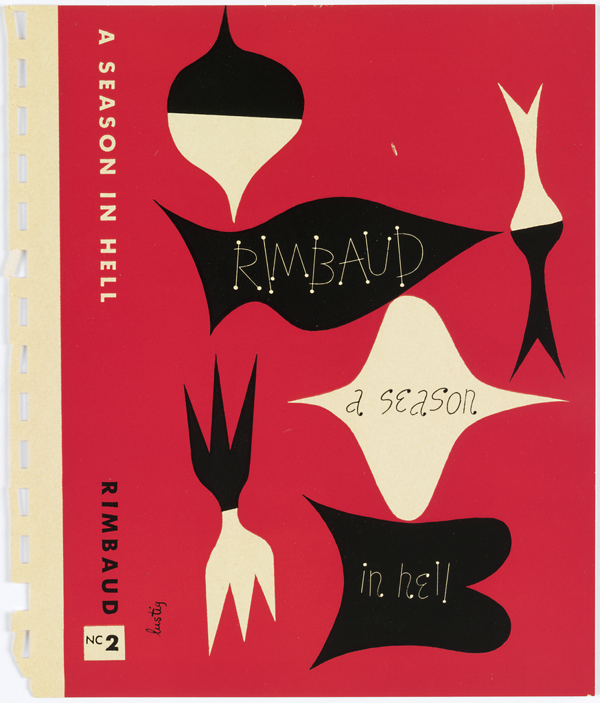 Bookjacket design. Design on red ground. Cover contains six abstract forms rendered in black and white. At top left, vertically-oriented top-shape, upper half in black, lower half in white. Below, abstract black shape, slightly reminiscent of a fish or flag. Below, horizontally-oriented white top shape. Below, a roughly B-shaped abstract black form. At lower left, a vertically oriented abstract form, upper and lower halves resembling three-tined forks. Upper half black, lower half white. At upper right, an abstract shape resembling two intersecting vertical darts, upper half white, lower half black.