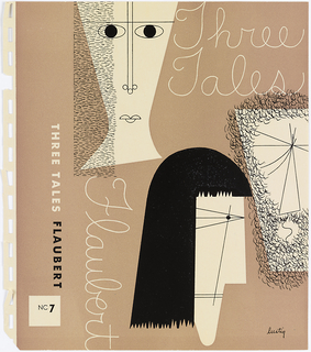 "Bookjacket design. Design on light brown ground. Cover features three abstracted depictions of human faces. At top left, face in a vaguely ""hourglass"" shape with horizontal oval eyes, an attenuated nose with two circular nostrils, a brow made of a single thin line, and lips constructed from three semi-circles. A column of shaky horizontal black strokes covers left side of face, possibly meant to depict hair.  At left center, face in shape of irregularly-shaped parallelogram. ""Eyes"" made out of numerous intersecting lines, possibly meant to imply squinting or closed eyes. Below eyes, a long triangular nose and a mouth made of an s-curved mouth. Surrounding and covering lower portion of face are small, curved black strokes meant to resemble facial hair. At bottom center, third face depicted in profile. Eye made of black dot inside three thin lines ending at point. Mouth made of two horizontal black lines. Face has black hair with jagged edges for bangs and bottom."