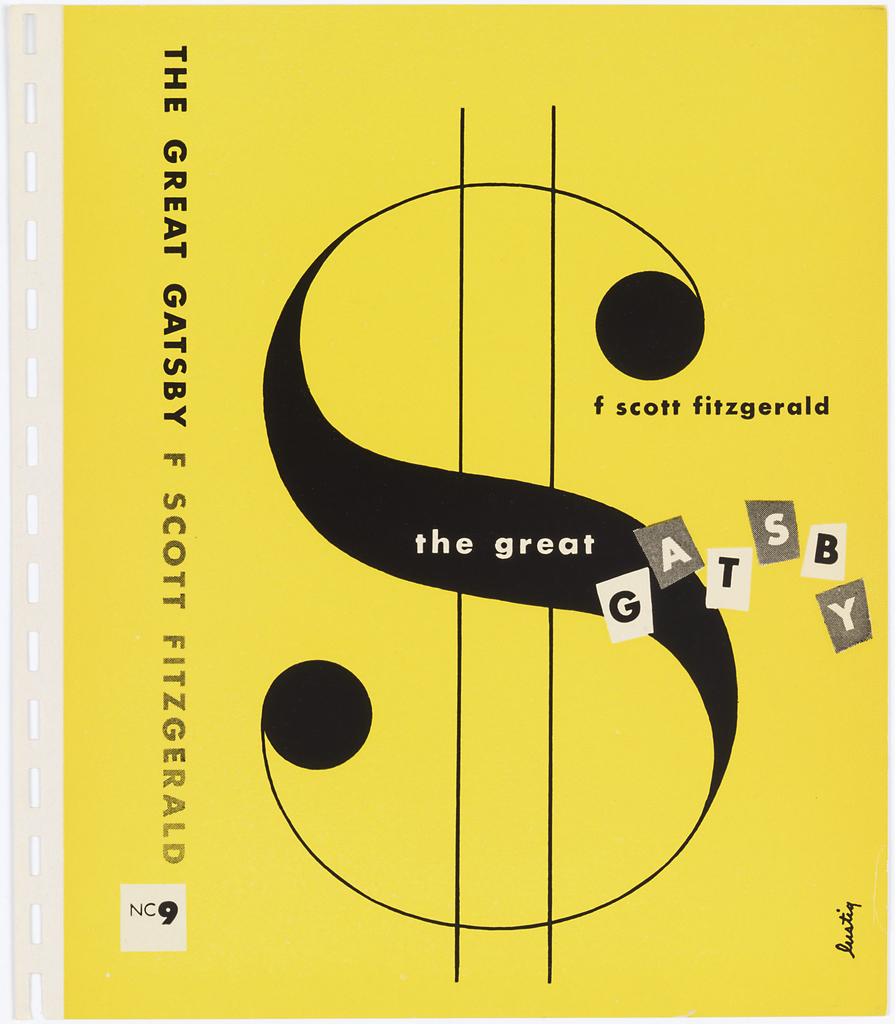 Design on bright yellow ground. Cover is largely filled with black serif dollar sign ($) in the center. The letters of the the word Gatsby are inside alternating white and gray boxes.