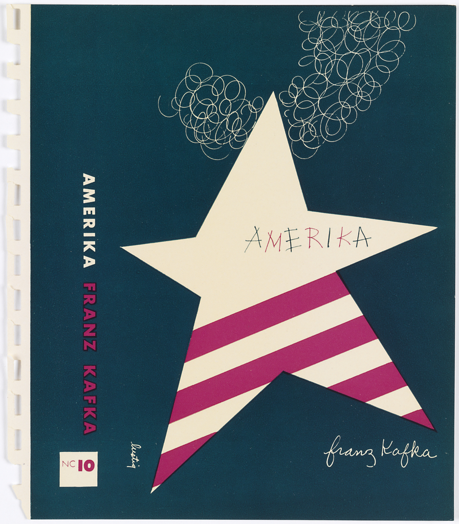 Design on dark teal ground. On cover, irregular five-pointed white star takes up most of space. Bottom of star contains four dark pink diagonal stripes. Extending from upper right of cover across behind of upper portion of star, curving form made out of white scribbles.