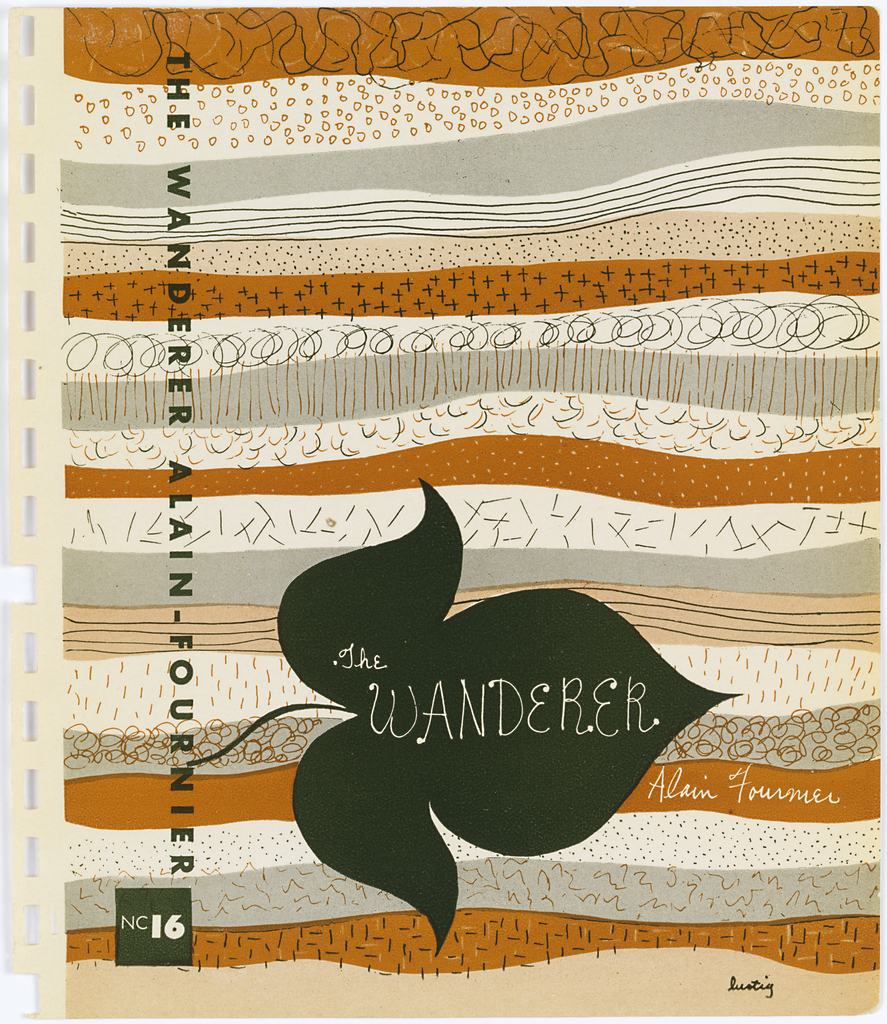 Bookjacket design. Design features ground consisting of thin horizontal strips of various patterns rendered in black, white, and orange. Patterns, which consist of thin horizontal lines, tight scribbles, crosses, hatch marks, short horizontal lines, circles, and dots, are reminiscent of layers of sedimentary rock or an aerial view of farm fields. Cover depicts, on lower left, a black, horizontally-oriented three-lobed leaf.