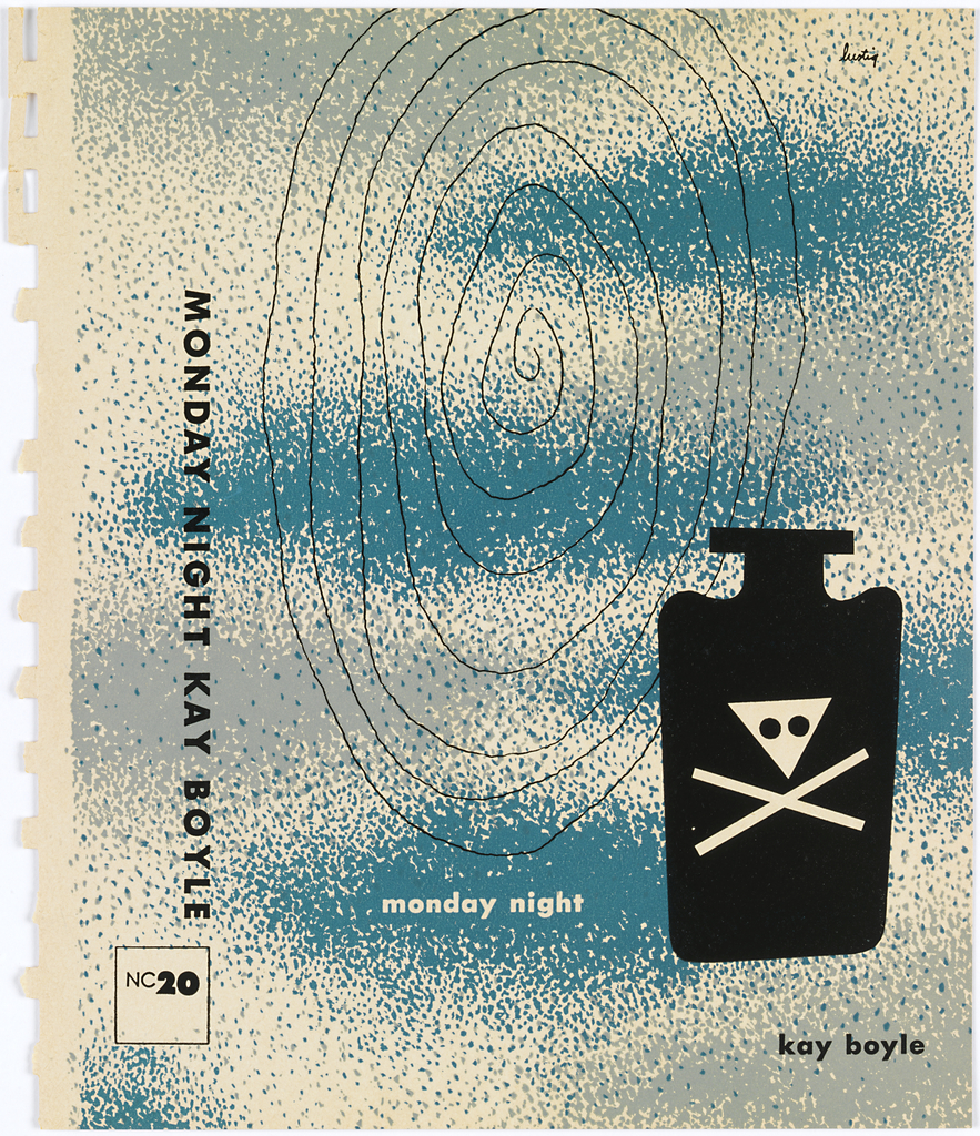 Bookjacket design. Design on off-white ground with blue and gray stippling which forms cloud forms on cover. Cover features, on lower right, black bottle with thin neck and flat, rectangular lip. On bottle is white scull and crossbones in which skull is upsidedown triange and bones are two white lines. Behind, starting at upper center, extending most of page is thin black spiral.