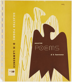 "Bookjacket design. Design on yellow ground. On right, cover depicts two organic, amorphous eagle-like forms with a curved ""head"" and wings that extend to a jagged bottom. Front eagle form is solid brown in lower right corner of cover. Second eagle form is a larger white mirror image of first directly behind and left of first. It is intersected by rows of yellow scribbes."