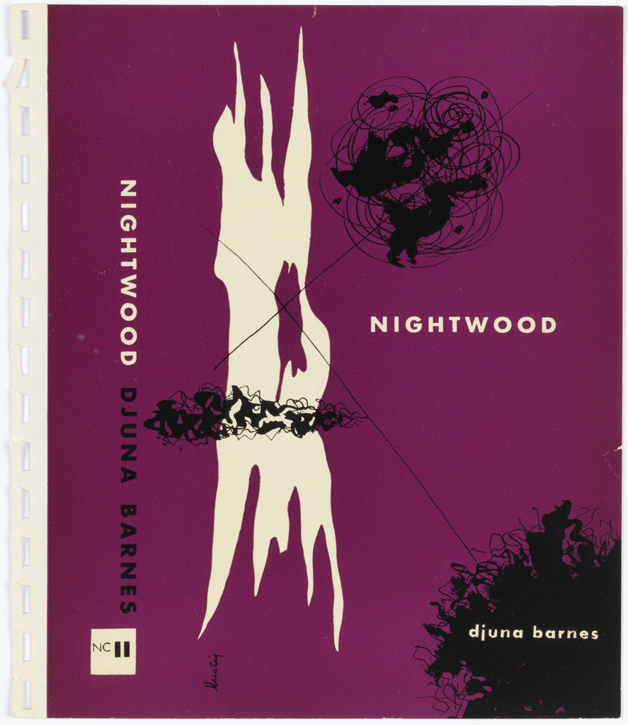 """The cover has a purple background with one large solid white abstract shape and smaller black designs layered over the purple background. Two black lines intersect over the white shape, forming an X. The title and author are written on the cover.   Design on dark purple ground. Features spine and front cover. One left side, spine contains in vertical sans-serif caps, book title in white and book author in black. Below, publisher logo: white square containing thin sans-serif """"NC"""" alongside two vertical black bars forming """"11."""" On right, front cover contains long white amorphous shape running height of page on left. Shape has long hole on right side. Superimposed over shape are a black vertical """"scribble"""" and a thin """"X"""" shape with arms that extend to upper right and left corners of page and intersect two more round """"scribble"""" forms. At right center, title """"NIGHTWOOD"""" is written in white sans-serif caps. Author's name is written in white sans-serif lowercase within round """"scribble"""" design in lower right corner. Along left side of cover is vertical signature in white: """"lustig.""""  A white border of unprinted paper runs along left side of design. Contains rectangular sprocket or binding holes."""