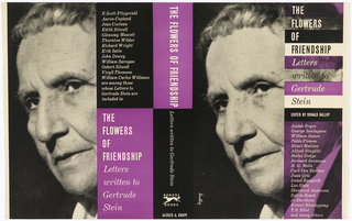 Book cover with photograph of Gertrude Stein and purple and black blocks.