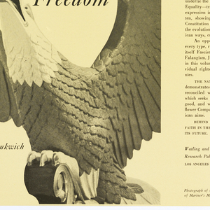 Cream colored book cover with black text. Front cover: image of eagle; back inside flap: photograph of author Leon R. Yankwich.