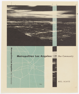 Upper half of page, photograph of Los Angeles. Lower left, map of city.