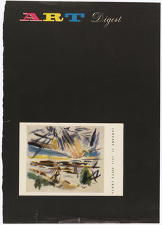 Lower half of page, postcard with tropical setting on black ground.
