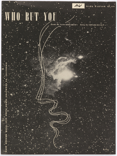 Sketch of face superimposed on photograph of stars.